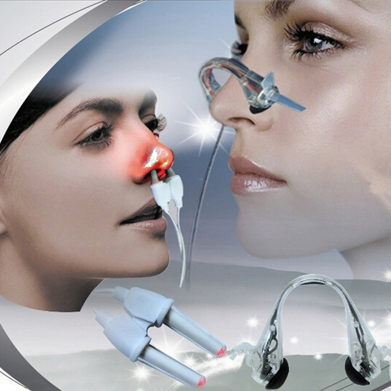 2 in 1 Laser + Pulse Naso Rinite Allergia Reliever Trattamento Anti-russamento Apparato Sinusite Terapia Massaggio Clip Assistenza Sanitaria