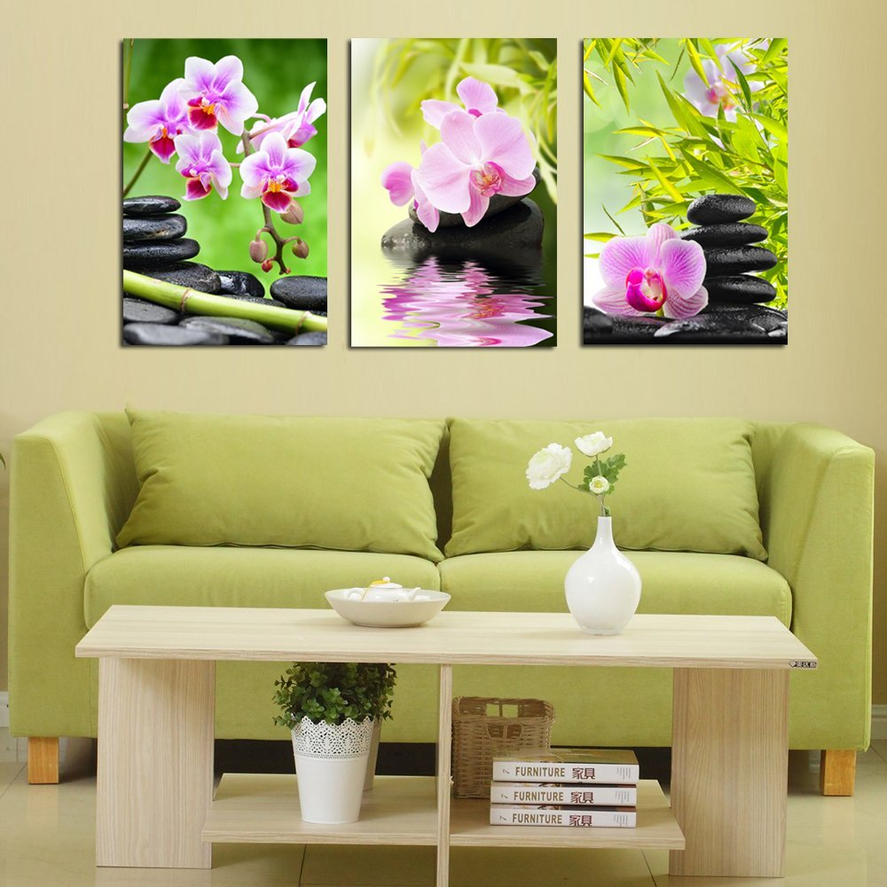 purple orchid flower bamboo stone 3 pieces giclee art work canvas prints zen art wall decor spa massage treatment painting - Spa Decor