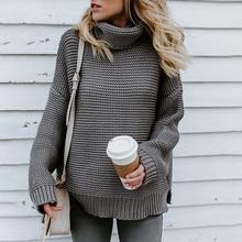 Großhandel ZAN.STYLE Rollkragen Cable Knit Chunky Pullover Frauen Beiläufige Feste Weiße Winter Rib Oversize Pullover Warme Herbst Jumper Pullover Von