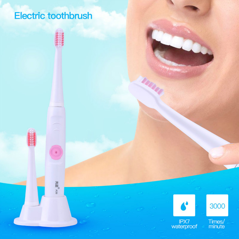 IPX7 Waterproof Ultrasonic Vibrating Sonic Electric Toothbrush 2 Pcs Replaceable Brush Head Tooth Brush For Children Oral Care 2pcs philips sonicare replacement e series electric toothbrush head with cap