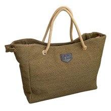 HOBBAGGO Fashion Women Handbag Solid Color Big Canvas Bag De