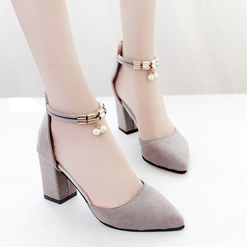 Spring Fashion High Heel Women Pumps Summer Shoes Pointed Toe Square Heel Female Women Shoes Ladies Footwear DC18 fashion women ladies pumps solid color spring summer pointed toe thin heel shoes new arrival high quality brand slip on pumps
