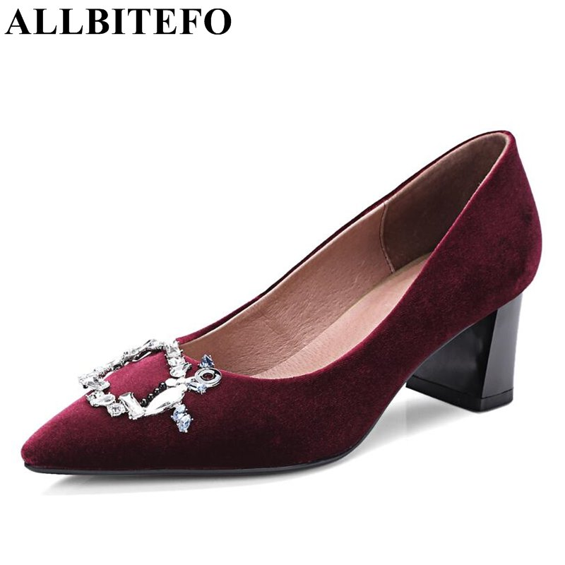 ФОТО ALLBITEFO new arrive velvet+genuine leather thick heel women pumps fashion Rhinestone high heel shoes woman office ladies shoes