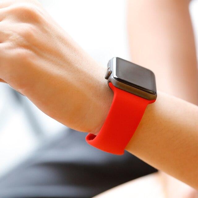 Силиконовый ремешок для Apple Watch Band 4 3 iwatch band 42 мм 44 мм 38 мм 40 мм спортивный браслет на запястье Correa ремешок для часов аксессуары