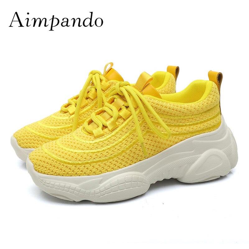 Rond Noir De jaune Blanc Mode blanc Sneakers Mesh Respirant pourpre Chaussures À 2019 Violet Bout Plate Femme La Jaune Black forme Loisir 0gO1qwz