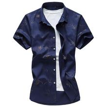 Flower Hawaiian Shirt Short sleeve Mens Shirts Dress Short sleeve Lapel Collar Blouse Men Blue White