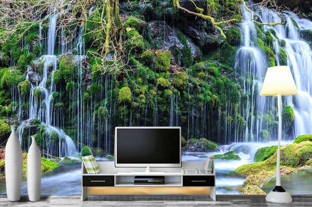 Simple HD 3d Landscape Wallpaper Beautiful Waterfall Wallpapers For Living Room Nonwoven Modern Decoration
