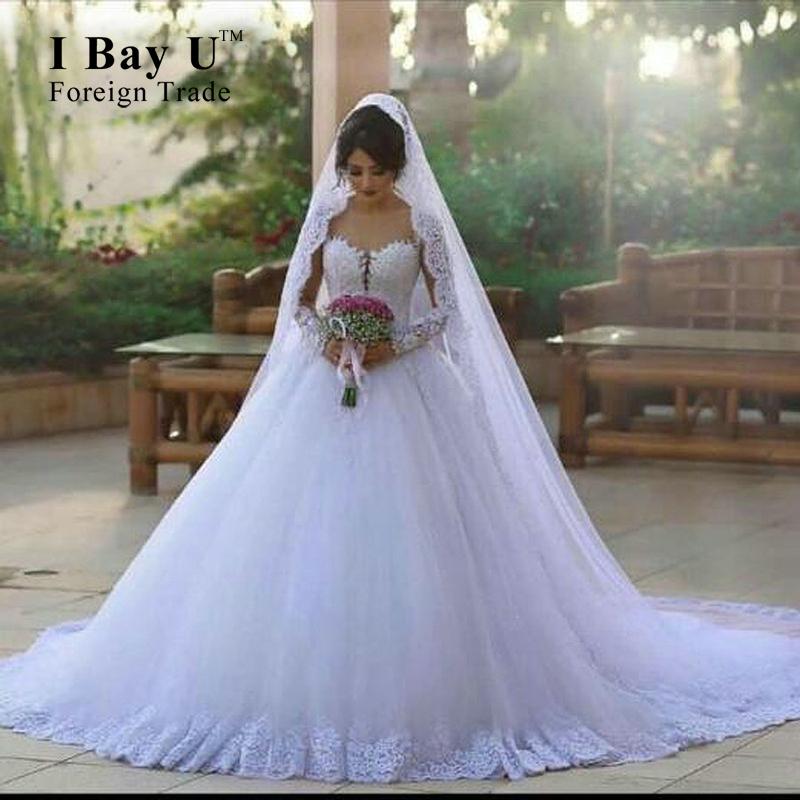 font b Hijab b font Girl Wedding Dresses Sheer Lace Appliques Wedding Gowns Stunning New