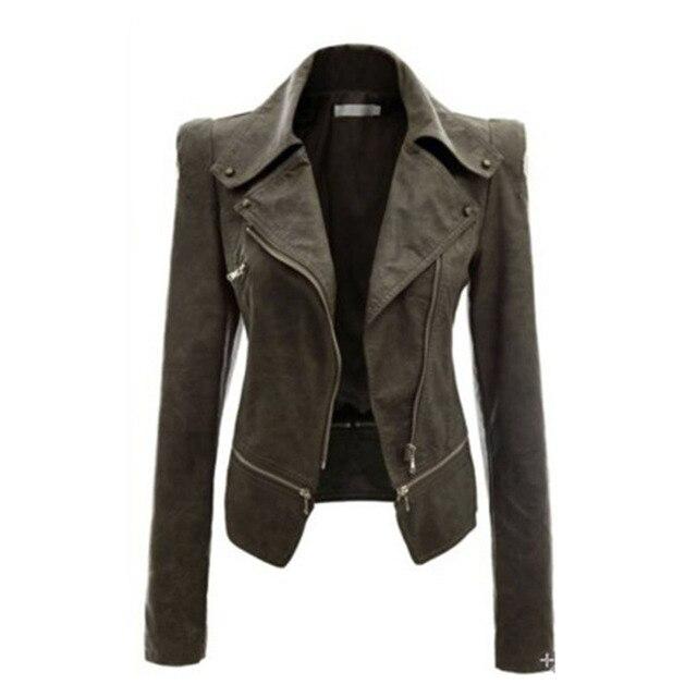 Autumn Women Faux Leather Gothic Black Zippers Long sleeve Jacket 1