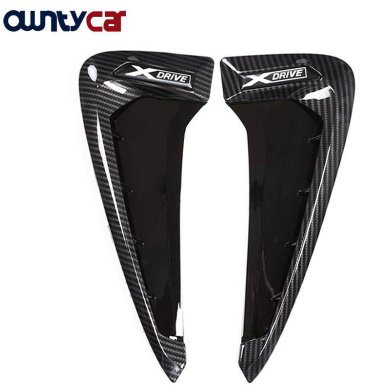 2Pcs Carbon fiber ABS Car Front Fender Side Air Vent Cover Trim For BMW X Series X5 F15 X5M F85 Shark Gills Side Vent Sticker 4pcs stainless steel side door body molding cover trim for bmw x5 f15 2014 2015 car accessories