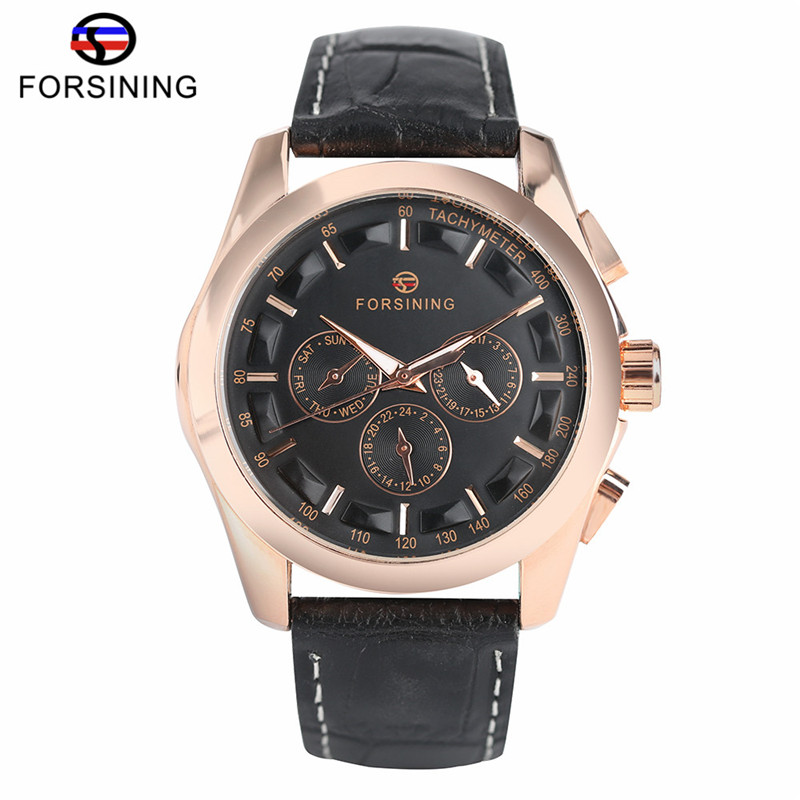 Forsining Luxury Brand Date Display Watch Men Self-winding Mechanical Wristwatch Mens Black Genuine Leather Band Watches 2017 luxury men brand crystals dress watches self winding mechanical 316l band calendar wristwatch saphir relojes analog 3atm nw4239