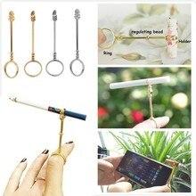 Fasion בציר סיגריות מחזיק טבעת מתלה מתכת אצבע קליפ נשים גברים Slim סיגריות עישון אביזרי מעשן מתנת סט