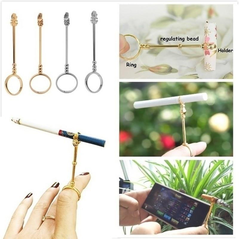 Fasion Vintage Cigarette Holder Ring Rack Metal Finger Clip Women Men Slim Cigarettes Smoking Accessories Smoker Gift Set