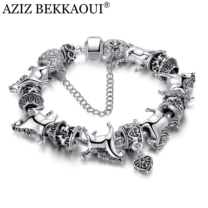 Silver Horse Charm Bracelets European DIY Beads Bracelet For Women Vintage Silver Charms Safe Chain 23CM Bracelet Men Jewelry ...
