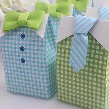 Big Sale 20 pcs Little Man Blue Green Bow Tie Birthday Boy Baby Shower Favor Candy Treat Bag Wedding Favors Candy Box Gift Bag big box little box