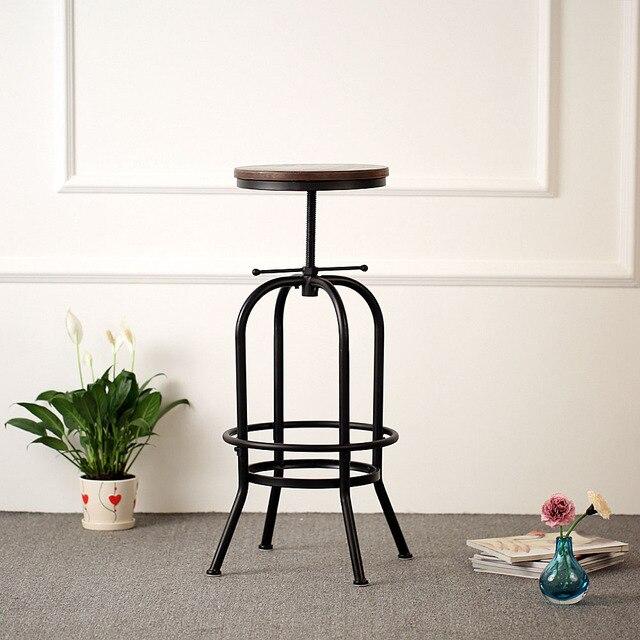IKayaa Industrial Style Barstool Height Adjustable Swivel Bar Stool Natural  Pinewood Top Kitchen Dining Breakfast Stool