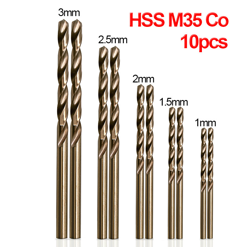 TTAKA7 10pcs/Set Twist Drill Bit Set HSS M35 Co Drill Bit 1mm 1.5mm 2mm 2.5mm 3mm Used For Steel Stainless Steel