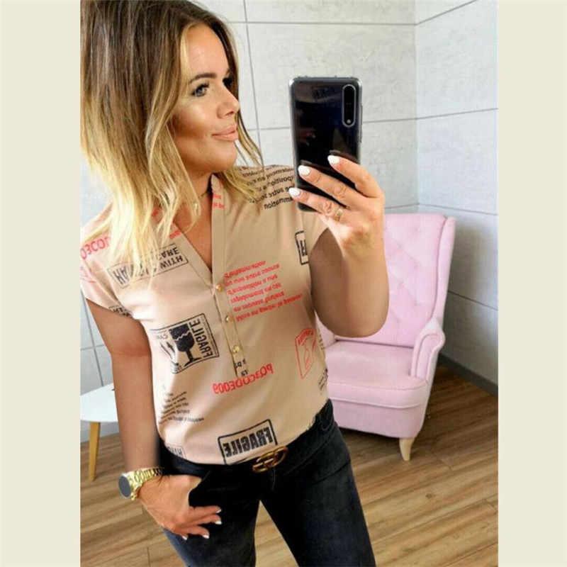 Musim Panas Wanita Atasan Kasual Lengan Pendek Kerah Yg Terlipat Ke Bawah Kerah Fashion Wanita Blus Kemeja Sifon Cetak Blus Wanita Blusas Pakaian Wanita