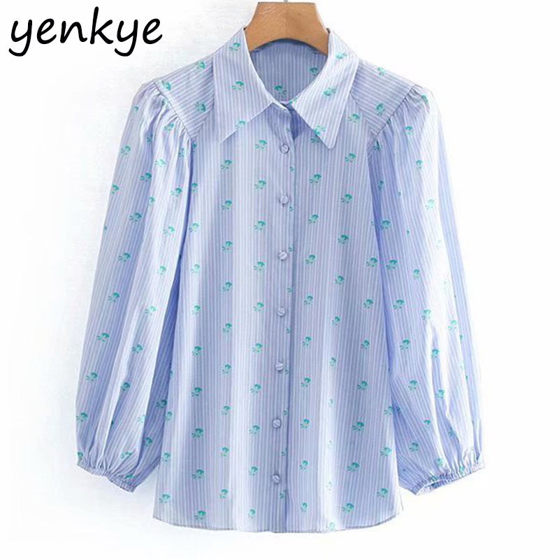 2019 Women Floral Print Blue Striped   Blouse     Shirt   Lady Turn-down Collar Lantern Sleeve Plus Size Summer   Shirts   Chemise Femme