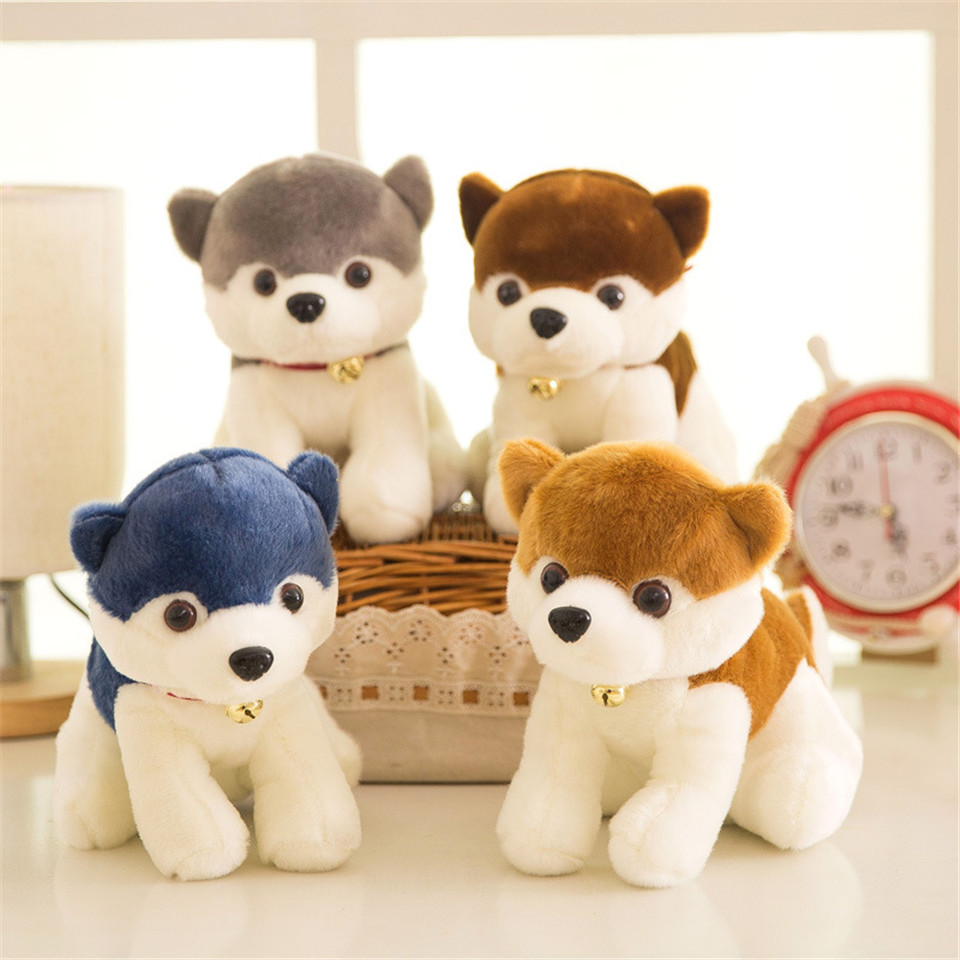 18cm Bells husky dog plush toys Lovely stuffed animal dolls Hot Sale Kids Toy High quality Room decorative model 18cm high quality gibbon stuffed animal toys lovely monkey plush toys baby toys dolls christmas gifts free shipping