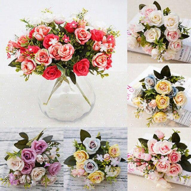 1 bouquet silk rose flower centerpiece bridal wedding party 1 bouquet silk rose flower centerpiece bridal wedding party decorative flowers decor home craft decoration mightylinksfo