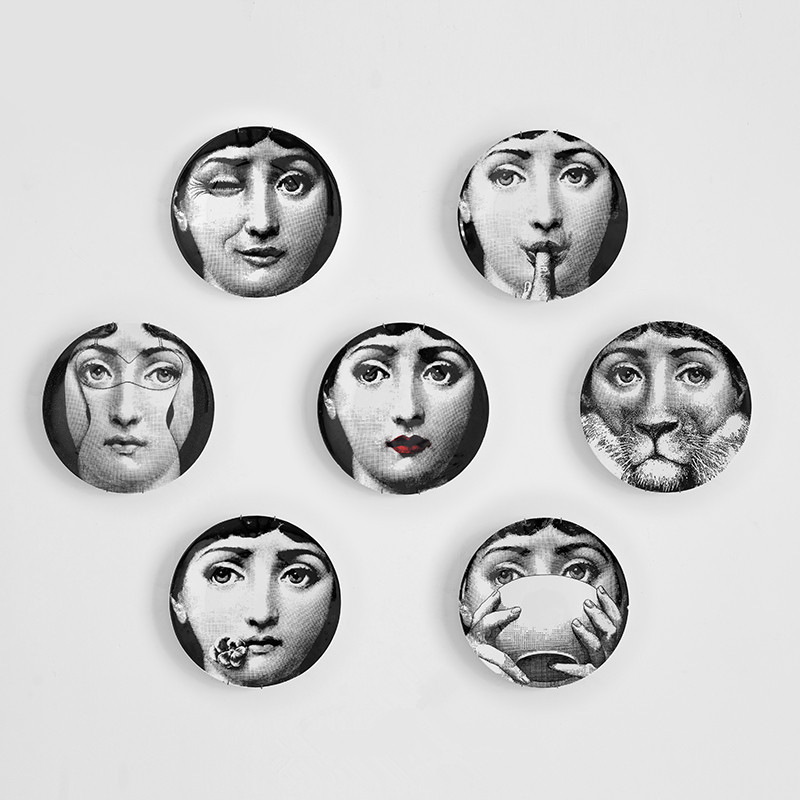 Artesanato Fornasetti Crafts Decoration Ceramic Home Decoration Hogar Manualidades Fornasetti Plate Porcelain Wall Plates 8 Inch
