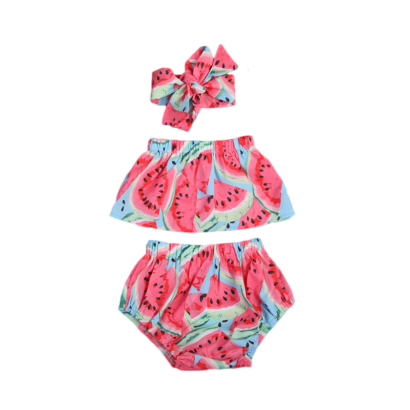 0-24M Cute Newborn Baby Girl Clothes Set 2018 Summer Watermelon Off-shoulder Tube Tops+Shorts Pants+Headband Fashion 3pcs Outfit