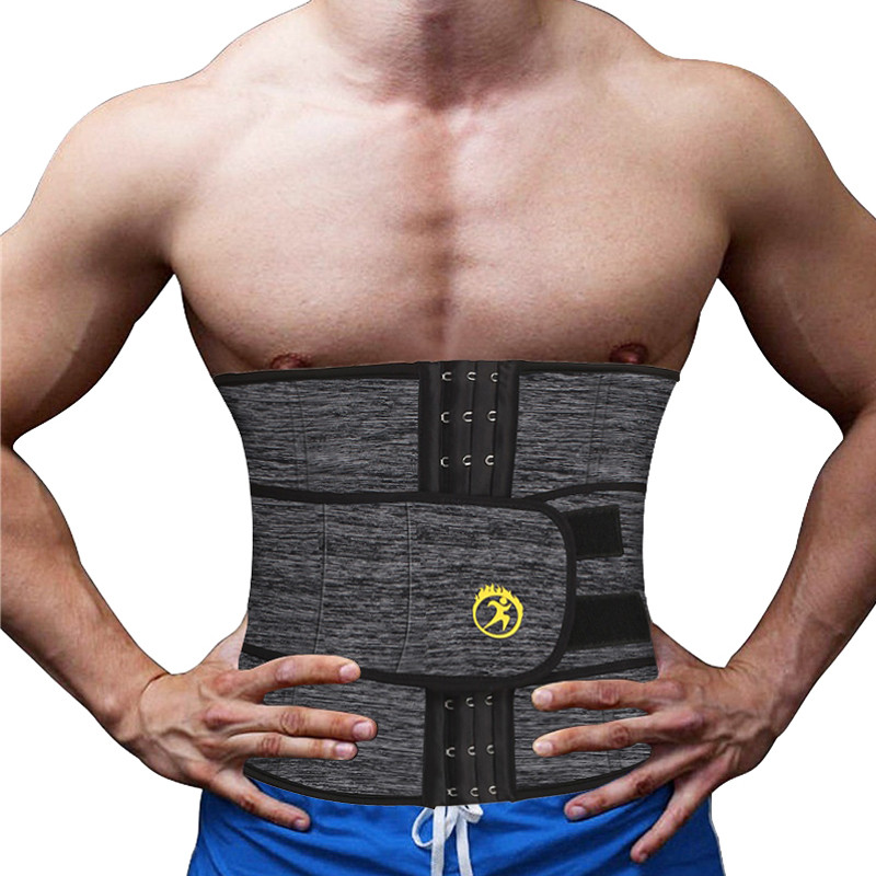 NINGMI Men Waist Trainer with Pocket Neoprene Hot Shaper Cincher Corset Male Body Modeling Belt Slimming Strap Fitness Shapewear