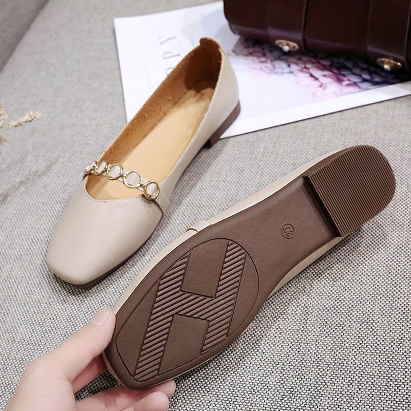 HEE GRAND 2019 New Spring Women Flats Solid Slip-On Causal Square Toe Shoes String Bead PU Leather Flats Size 35-40 XWD7578 2