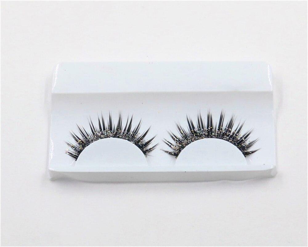 a pair Natural Tapered False Eyelash Exaggerated Fashion Glitter Fake Eyelashes Makeup Tools in False Eyelashes from Beauty Health