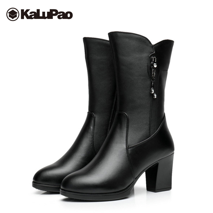 Kalupao womens boots high heel black mid calf genuine leather snow boots women platform fur winter warm snow boot waterproof platform bowkont flocking snow boots