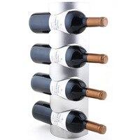 شحن مجاني المقاوم للصدأ النبيذ الرف الحديد ديكور الحائط الحائط Racks-4 النبيذ زجاجة النبيذ الرف (33-4)