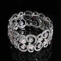 Katrina Hot Charming Bride Bracelet Wedding Crystal Jewelry Shiny Rhinestone Wide Bracelet For Women Wholesale Brand
