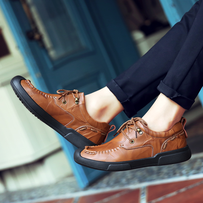 Fashion men 39 s shoes casual leather spring autumn lace up handmade shoe wine red brown amp black waterproof platform shoes for men in Men 39 s Casual Shoes from Shoes