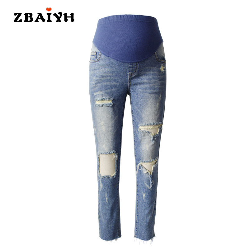 Maternity pants hole skinny ripped high waisted jeans woman 2017 fashion pregnant women clothing pregnancy pant summer AYF-K011 dark blue middle waist skinny shredded ripped jeans with four pockets
