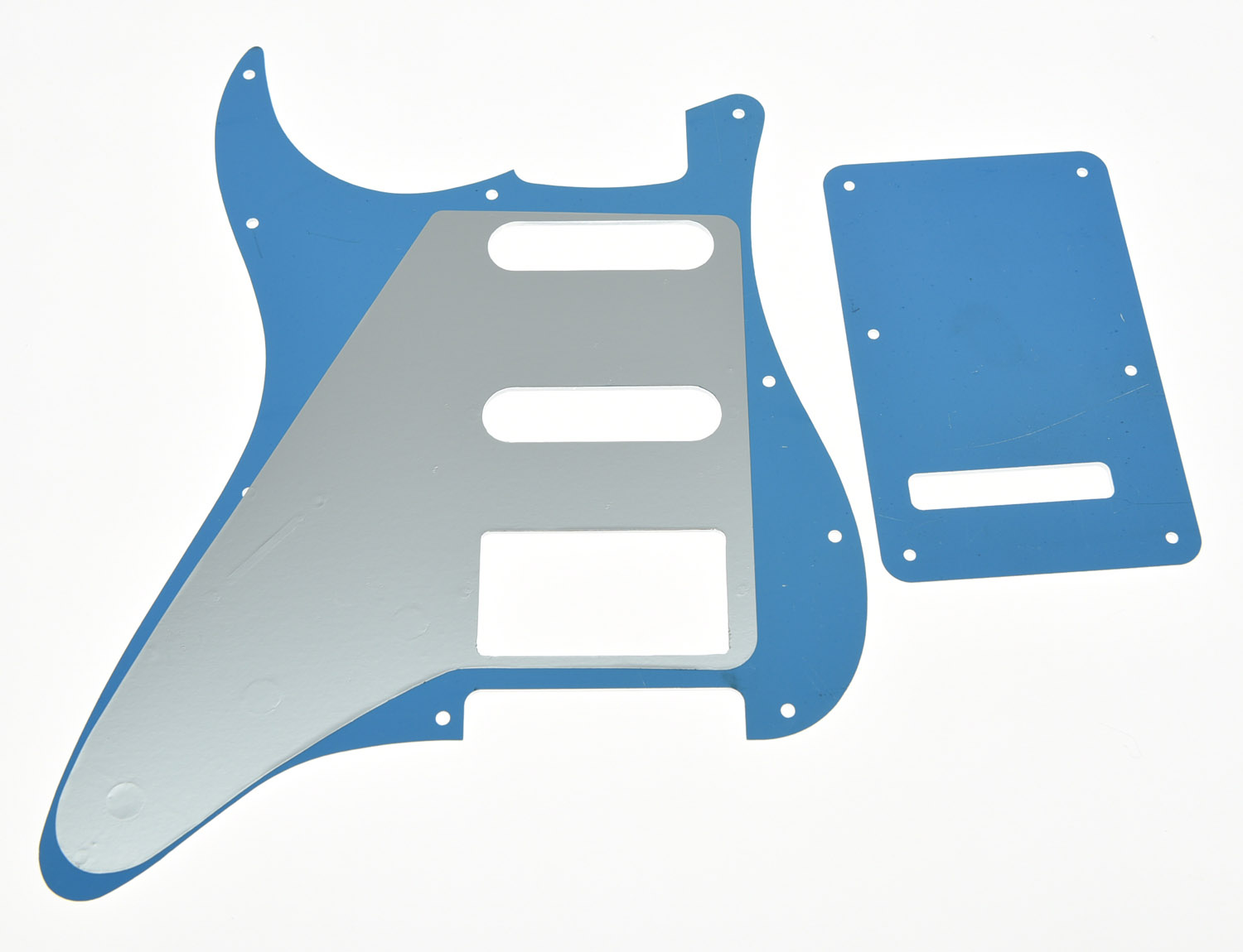 KAISH Silver Mirror HSS ST Style Guitar Pickguard Scratch Plate Back Plate Set kaish various colors st style hss guitar pickguard scratch plate trem cover screws