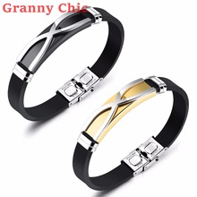 Granny Chic FASHION Male Silver Gold Bracelets Geometric Design Stainless Steel Silicone Bracelet Bangles Hot Jewelry for Men