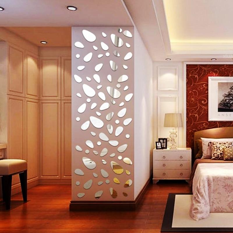 12 unids/set 3d diy etiqueta de la pared decoración espejo pegatinas de pared pa