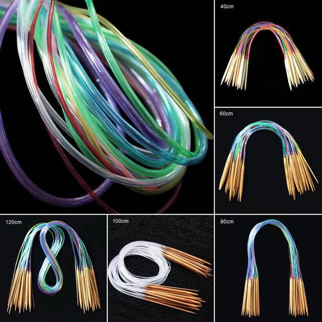 18 pcs Tube Circular Crochet Knitting Needles 40-120cm