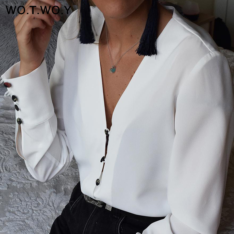 WOTWOY Long Sleeve White   Blouse   Women Casual Chiffon   Blouse     Shirt   Women Spring Summer Kimono Tunic Tops Feminino Blusas Harajuku