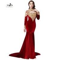 Evening Dress LORIE 2016 Burgundy Velour Long Sleeve Evening Dress High Neck Sexy Cut Out Women