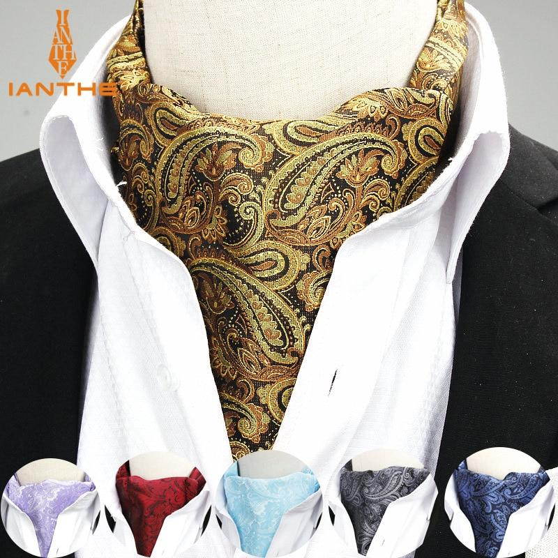2018 Brand New Jacquard Men's Vintage Jacquard Mens Long Paisley Navy Cravats Novelty Wedding Slim Ascot Tie For Men Neckties