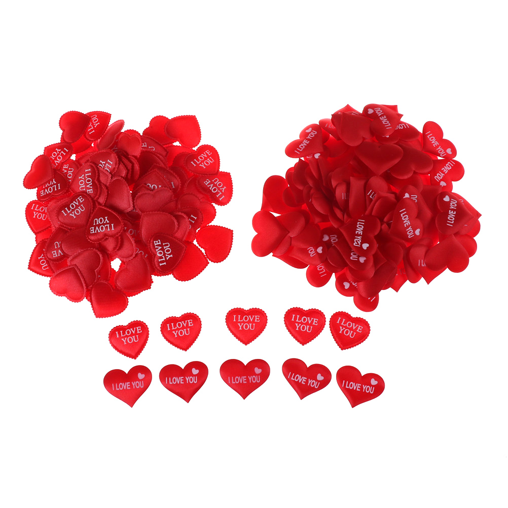 100pcs Red Fabric Heart Love you Confetti Marriage Room DIY Garland Love Heart Wedding Confetti Supplies dia 3.5x2.5cm