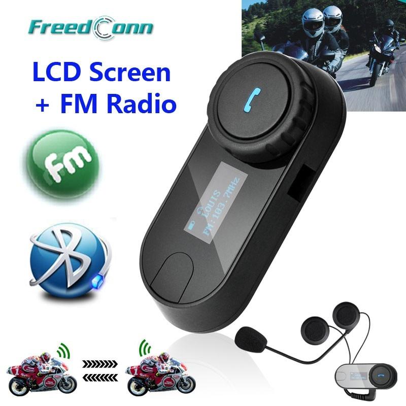 New Updated Version!! Motorcycle Motorbike BT Bluetooth Multi Interphone Headset Helmet Intercom T-COM LCD Screen FM Radio
