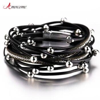 Amorcome Multicouche En Cuir bracelets pour femme 2019 Design tendance 4 Couleurs Perles Charme Double bracelets d