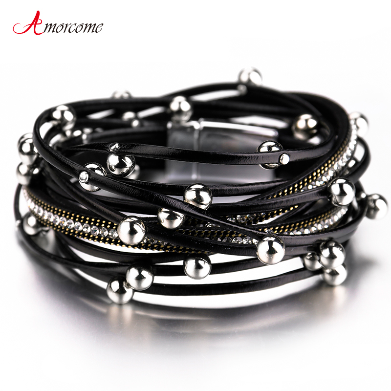 Amorcome Multilayer Leather Bracelets For Women 2020 Trendy Design 4 Colors Beads Charm Double Wrap Bracelets & Bangles Jewelry(China)