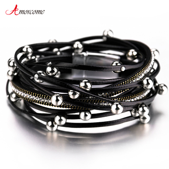 Amorcome Multilayer Leather Bracelets For Women 2020 Trendy Design 4 Colors Beads Charm Double Wrap & Bangles Jewelry