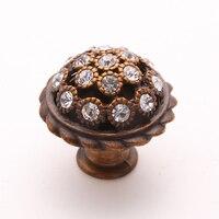 2pcs Antique European Style Zinc Alloy Crystal Diamond Furniture Handle Knob Luxury Kitchen Cabinet Door Knob