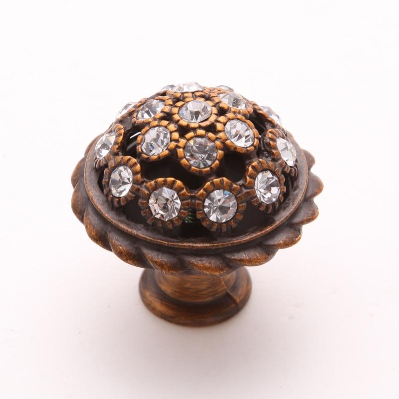 Luxury Kitchen Cabinet Hardware: 2pcs Antique European Style Zinc Alloy & Crystal Diamond