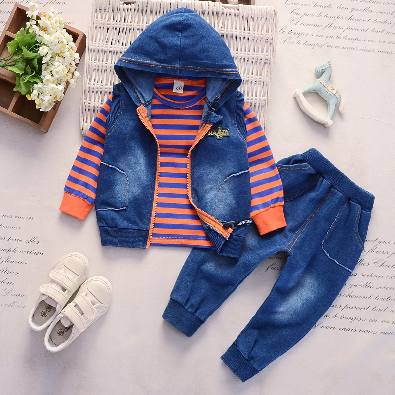 Hot sale 2018 new baby boy and girl cloth suit fashion hooded childrens denim set kids jeans 3 pieces clothing